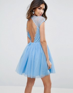 photo Lace Tulle Mini Prom Dress by ASOS PREMIUM, color Sugar Blue - Image 2