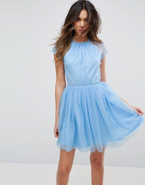photo Lace Tulle Mini Prom Dress by ASOS PREMIUM, color Sugar Blue - Image 1