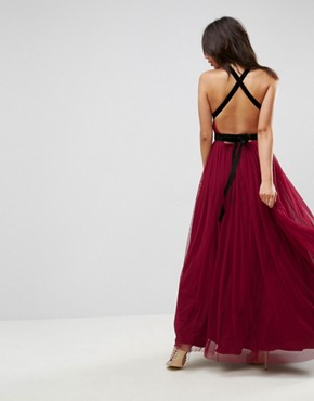 photo Tulle Maxi Prom Dress with Velvet Ties by ASOS PREMIUM, color Oxblood - Image 2