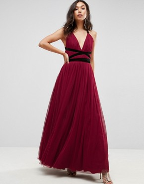photo Tulle Maxi Prom Dress with Velvet Ties by ASOS PREMIUM, color Oxblood - Image 1