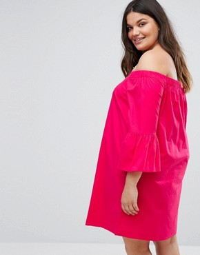 photo Peplum Sleeve Bardot Dress by New Look Plus, color Bright Pink - Image 2