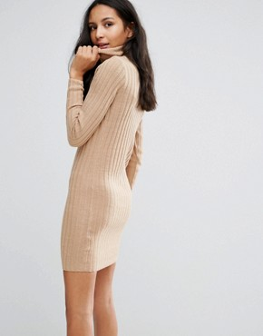 photo Rib Jumper Dress by Brave Soul, color Camel - Image 2