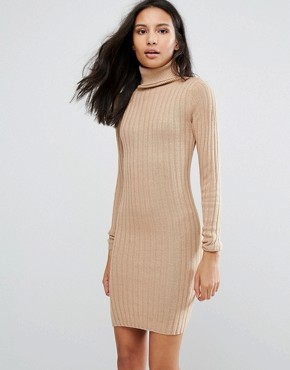 photo Rib Jumper Dress by Brave Soul, color Camel - Image 1