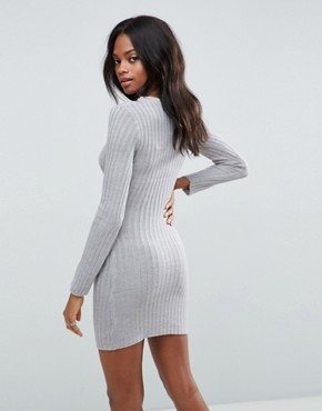 photo Rib Jumper Dress by Brave Soul, color Crystal Grey - Image 2
