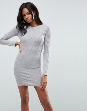 photo Rib Jumper Dress by Brave Soul, color Crystal Grey - Image 1