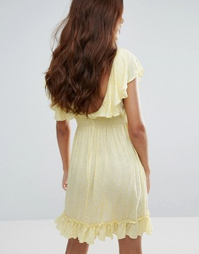 photo Polka Dot Tea Dress by Liquorish, color Yellow - Image 2