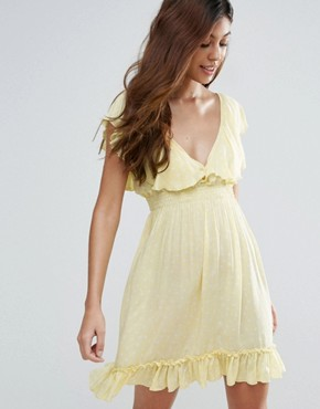 photo Polka Dot Tea Dress by Liquorish, color Yellow - Image 1