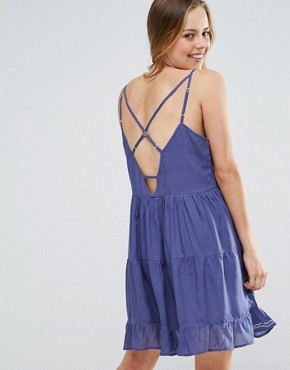 photo Embroidered Skater Dress by QED London, color Blue - Image 2