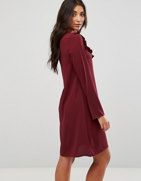 photo Frill Swing Dress by Brave Soul, color Wine - Image 2