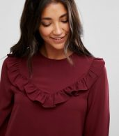 photo Frill Swing Dress by Brave Soul, color Wine - Image 3