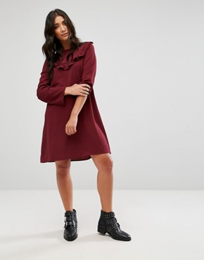 photo Frill Swing Dress by Brave Soul, color Wine - Image 4