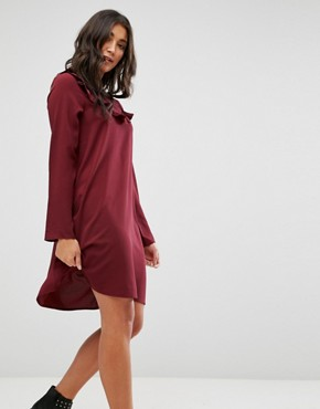 photo Frill Swing Dress by Brave Soul, color Wine - Image 1