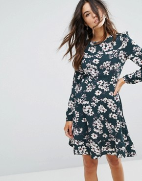 photo Floral Frill Dress by Brave Soul, color Forest Green - Image 1