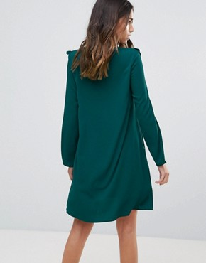 photo Frill Swing Dress by Brave Soul, color Forest Green - Image 2
