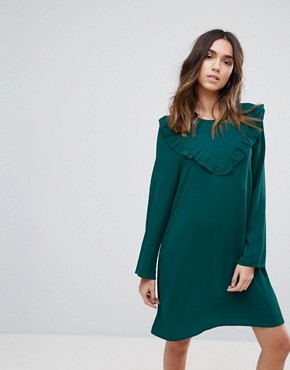 photo Frill Swing Dress by Brave Soul, color Forest Green - Image 1