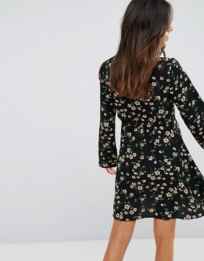 photo Floral Skater Dress by Brave Soul, color Black - Image 2