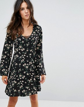 photo Floral Skater Dress by Brave Soul, color Black - Image 1