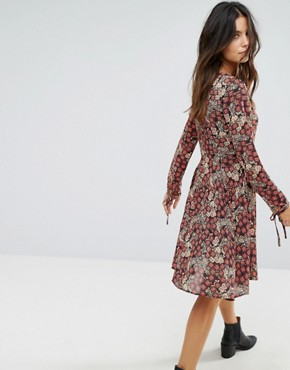 photo Tie Neck Floral Dress by Brave Soul, color Black/Red - Image 2
