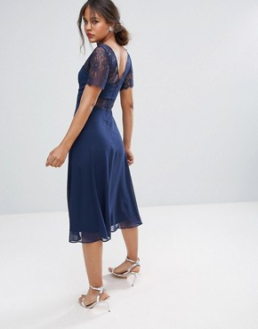 photo Lace Insert Panelled Midi Dress by ASOS TALL, color Navy - Image 2