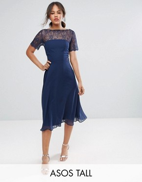 photo Lace Insert Panelled Midi Dress by ASOS TALL, color Navy - Image 1