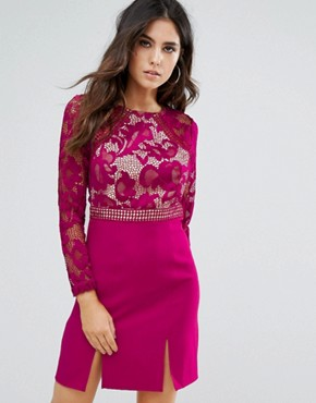 photo Lace Panel Shift Dress by Little Mistress, color Raspberry - Image 1