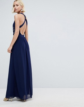 photo Lace Exposed Back Maxi Dress by Little Mistress, color Navy - Image 2