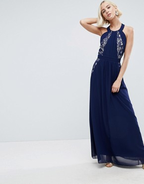 photo Lace Exposed Back Maxi Dress by Little Mistress, color Navy - Image 1
