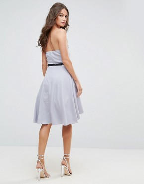 photo Embellished Bandeau Dress with Waist Belt by Little Mistress, color Grey - Image 2