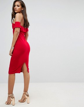 photo Off Shoulder Pencil Dress by Parisian Tall, color Red - Image 2