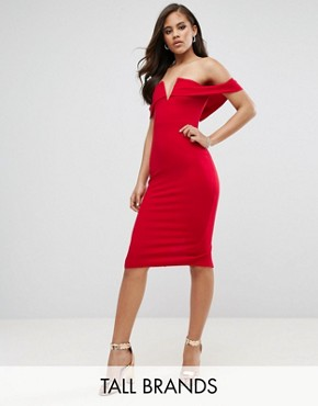 photo Off Shoulder Pencil Dress by Parisian Tall, color Red - Image 1