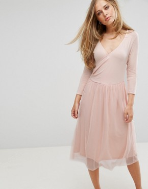 photo Wrap Tulle Skirt Dress by Vero Moda, color Pink - Image 1