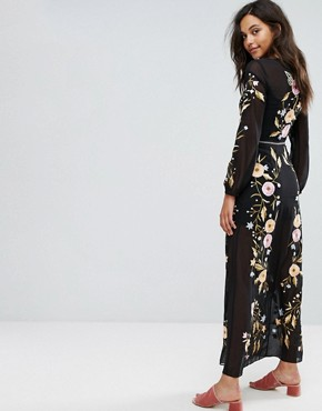 photo Embroidered Maxi Dress by Miss Selfridge, color Black - Image 2