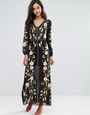 photo Embroidered Maxi Dress by Miss Selfridge, color Black - Image 1