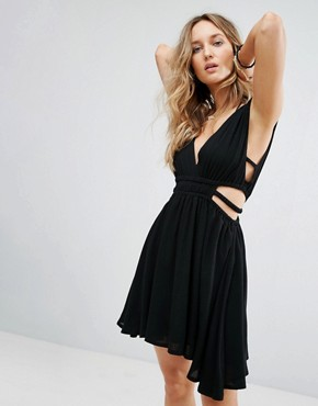 photo Double Strap Crinkle Dress by Surf Gypsy, color Black - Image 1