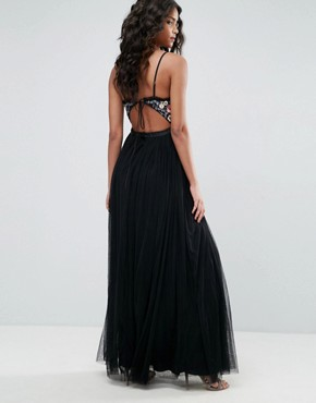 photo Whisper Embroidered Tulle Maxi Dress by Needle & Thread, color Black - Image 2