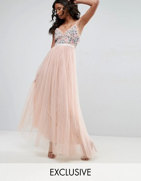 photo Whisper Embroidered Tulle Maxi Dress by Needle & Thread, color Petal Pink - Image 1