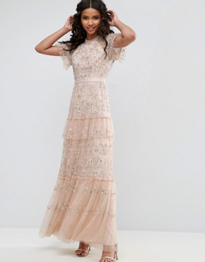 photo Constellation Lace Gown by Needle & Thread, color Petal Pink - Image 1
