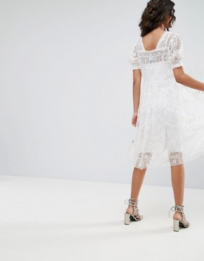photo Tulle Embroidery Dress by Needle & Thread, color Ivory - Image 2