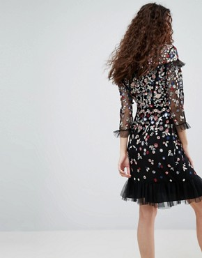 photo Posy Embroidered Long Sleeve Dress by Needle & Thread, color Black - Image 2