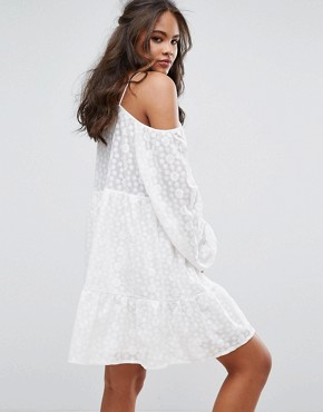 photo All Over Lace Cold Shoulder Skater Dress by Glamorous Tall, color White - Image 2