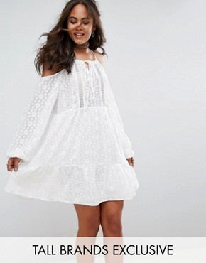 photo All Over Lace Cold Shoulder Skater Dress by Glamorous Tall, color White - Image 1