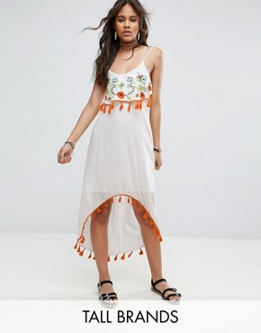 photo Embroidered Midi Dress by Glamorous Tall, color Cream - Image 1