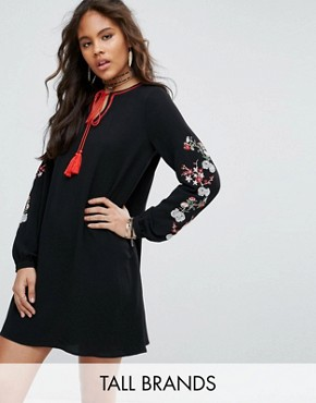 photo Swing Dress with Embroidered Sleeve Detail by Glamorous Tall, color Black - Image 1
