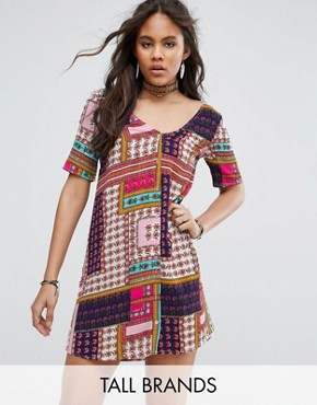 photo Button Through Tea Dress in Patchwork Print by Glamorous Tall, color Multi - Image 1