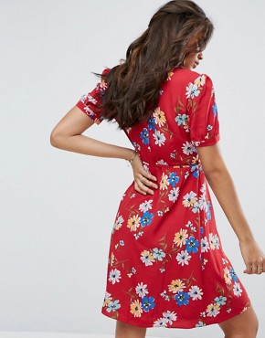 photo All Over Floral Wrap Front Tea Dress by Glamorous Tall, color Multi - Image 2