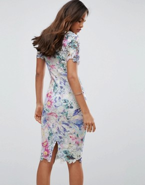 photo Printed Lace Pencil Dress by Paper Dolls Tall, color Multi - Image 2