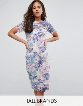 photo Printed Lace Pencil Dress by Paper Dolls Tall, color Multi - Image 1