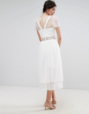 photo Tulle Ruffle Midi Dress with Metal Ring Detail by True Decadence Tall, color White - Image 2