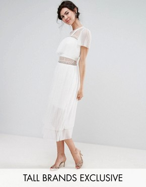 photo Tulle Ruffle Midi Dress with Metal Ring Detail by True Decadence Tall, color White - Image 1