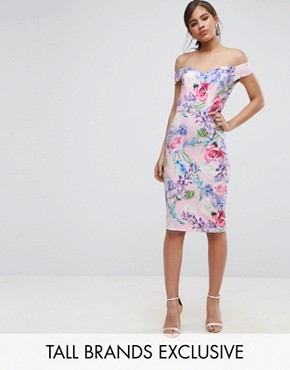 photo Floral Printed Bardot Pencil Dress by Paper Dolls Tall, color Multi - Image 1